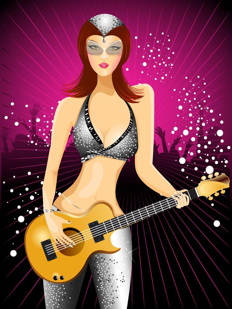 Beautiful  Girl Iwith Guitar.