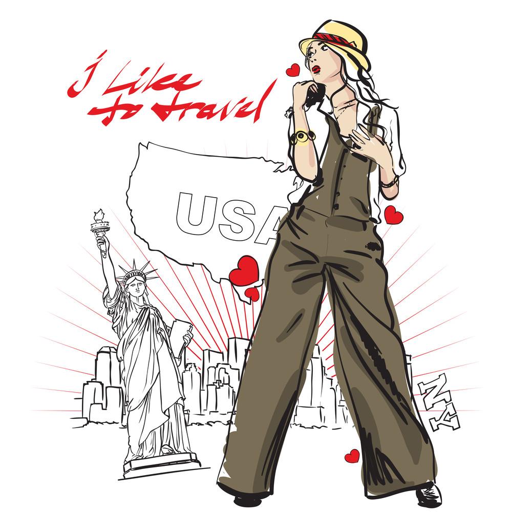 Beautiful Girl On A Grunge Usa-background. Vector Illustation.