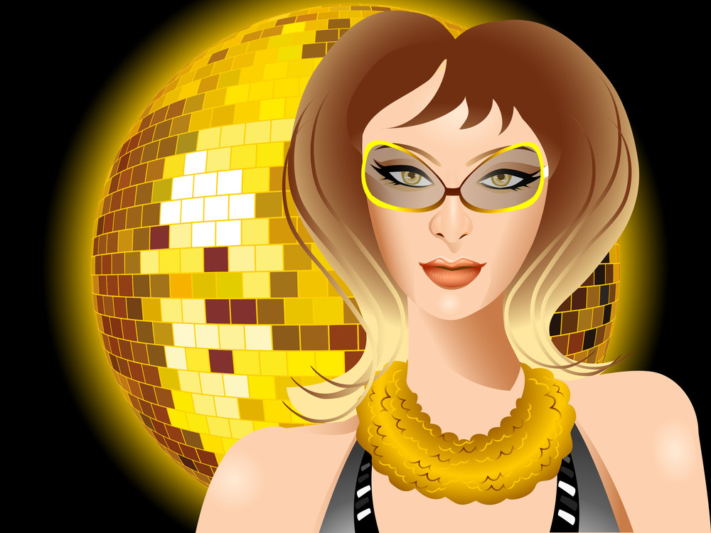 Beautiful Girl On Disco Ball Background.