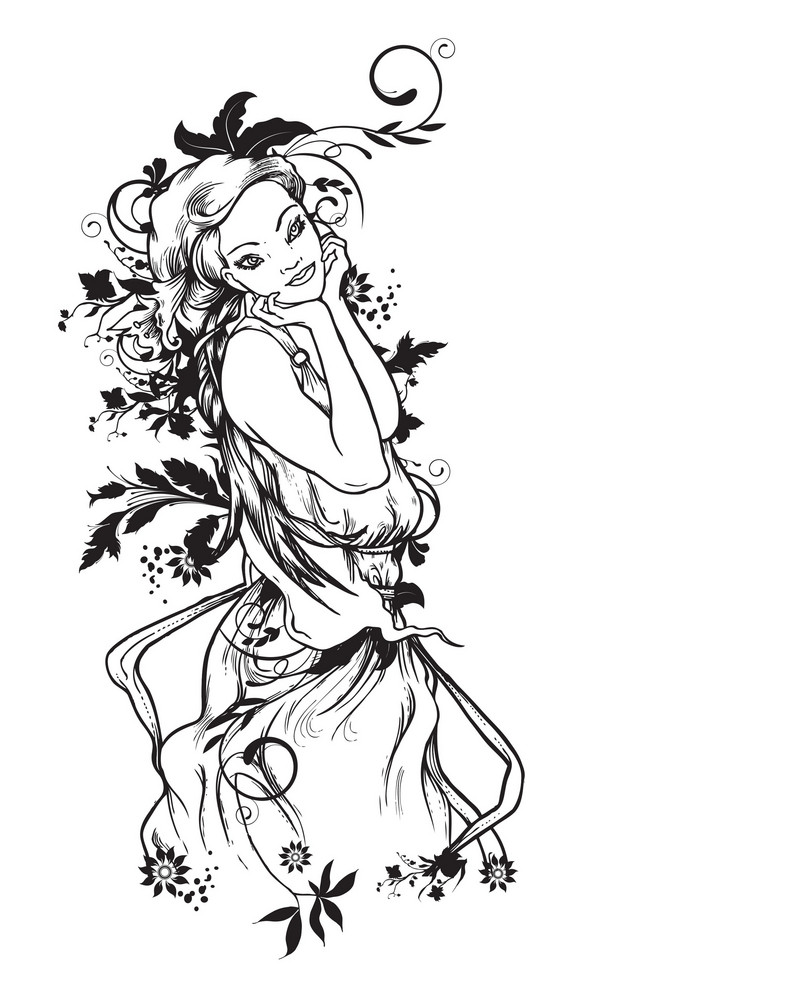 Beautiful Girl With Flowers Vector Illustration