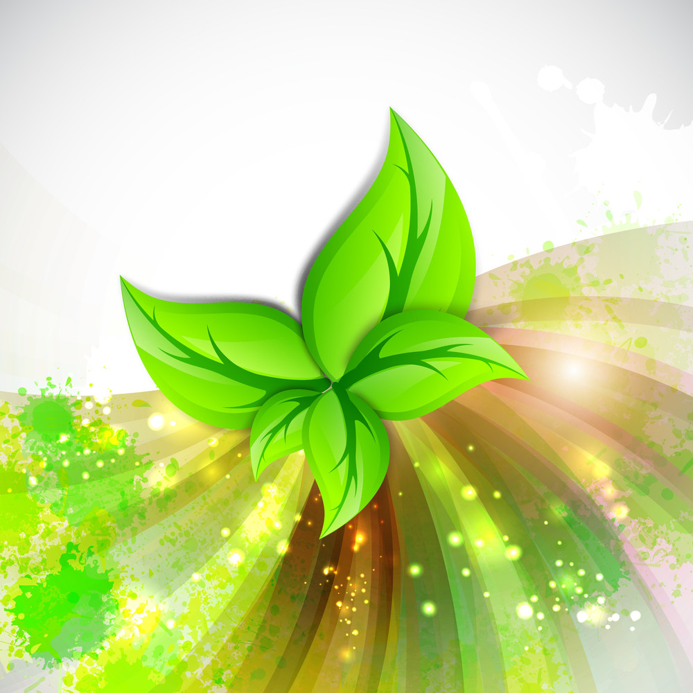 Beautiful Green Leaves On Shiny Rays Background With Space For Your Message