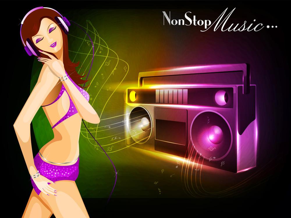 Beautiful Happy Blond Girl With Headphones Grooving Having Fun Listening To Music.
