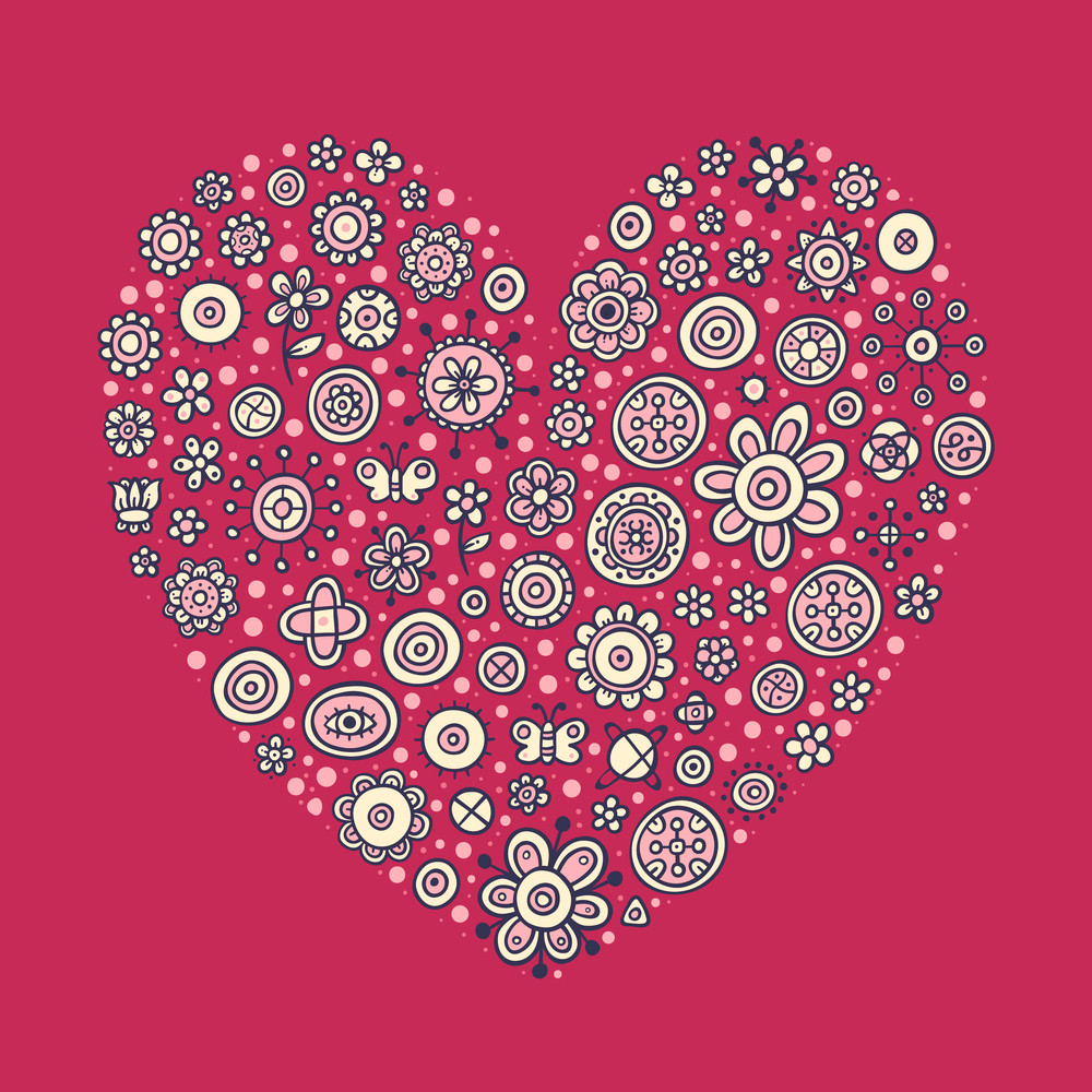 Beautiful Heart With Flowers And Abstract Elements