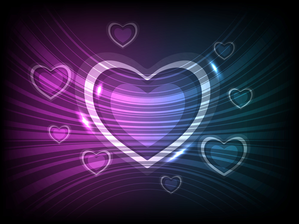Beautiful Hearts Element With Waves Having On Beautiful And Colorful Background. Vector Illustration. Eps 10