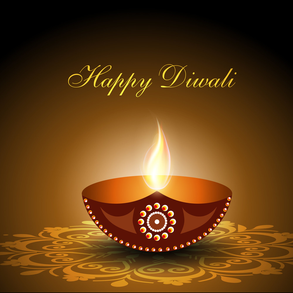 Beautiful Illuminating Diya Background For Diwali Or Deepawali Festival.