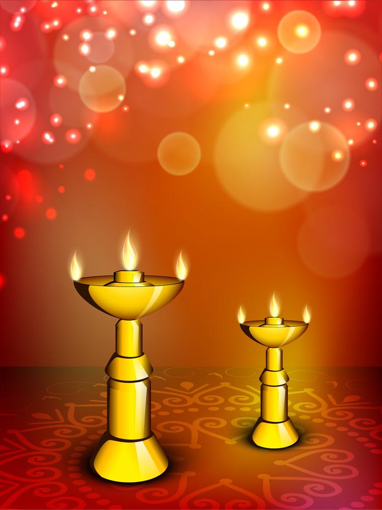Beautiful Illuminating Diya Background For Hindu Community Festival Diwali Or Deepawali In India.