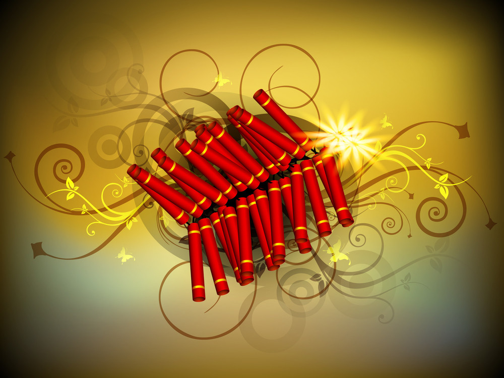 Beautiful Illuminating Fire Crackers Background For Hindu Community Festival Diwali Or Deepawali In India.