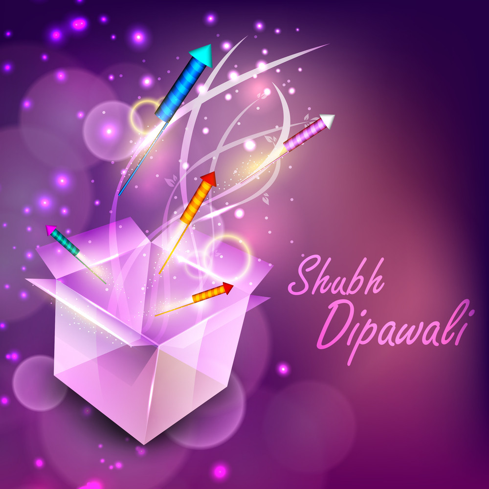 Beautiful Illuminating Fire Crackers Coming Out From Box For Hindu Community Festival Diwali Or Deepawali In India.