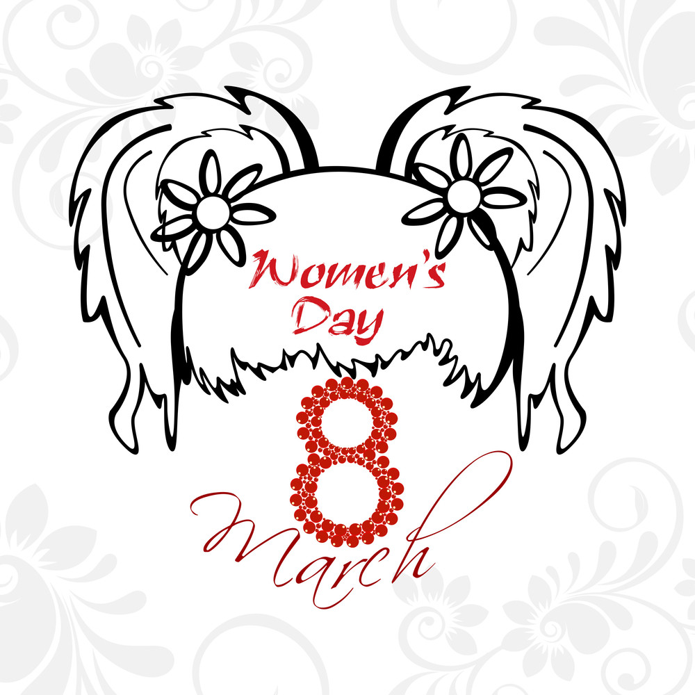 Beautiful Illustration With The Hair Of A Girl And The Text Of 8th March And Woman's Day. Vector.