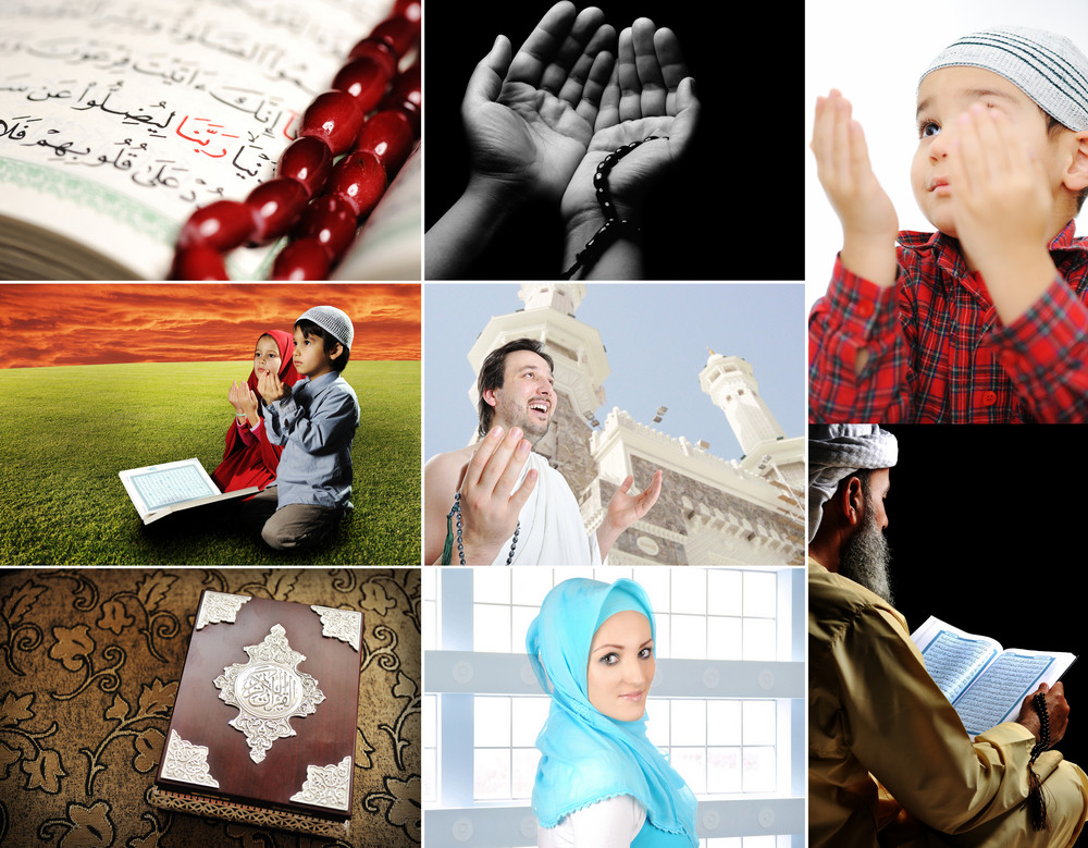 Beautiful ISLAM collection, collage of several photos, Muslim people and their activities