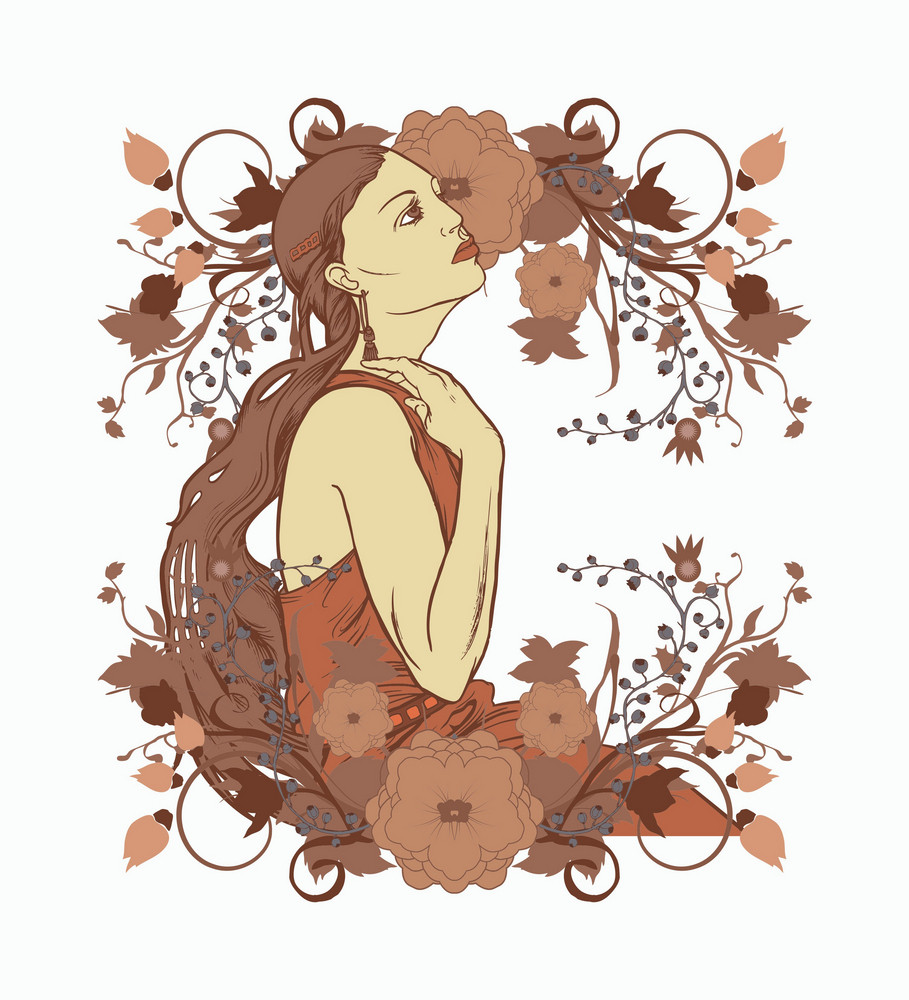 Beautiful Lady With Floral Background