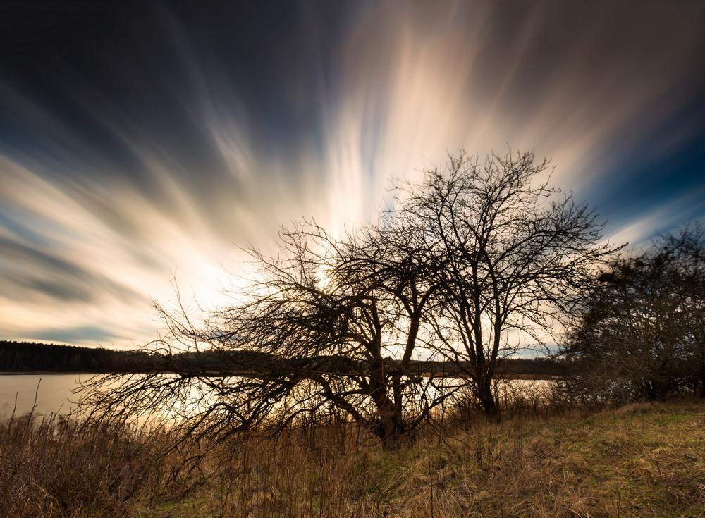 湖の岸に枯れたリンゴの木の上にぼやけた空の美しい長い露光風景。動きの速い雲が長時間露光で撮影しました。