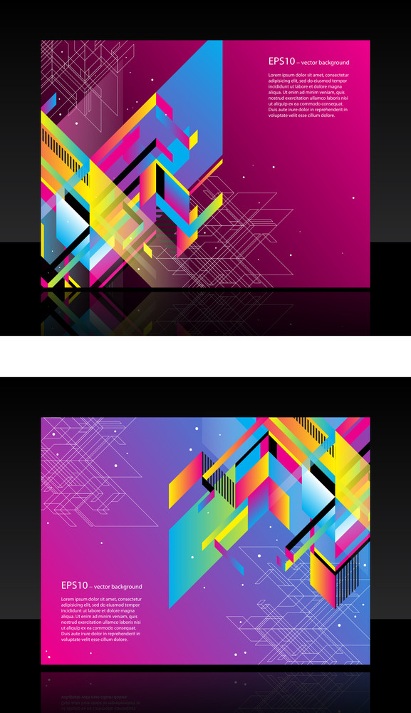 Beautiful Modern Web Banner With Colorful Retro Shapes