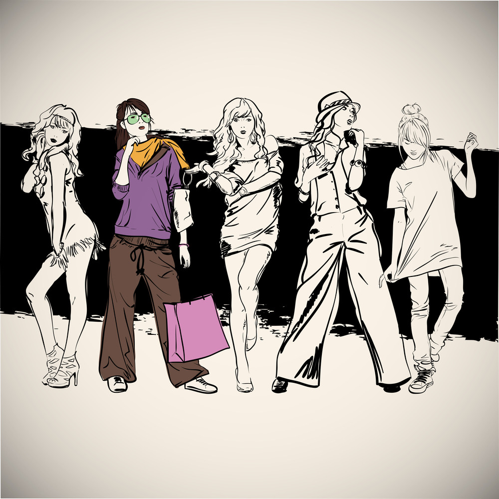 Beautiful Poster With Fashion Girls. Vector Illustration.