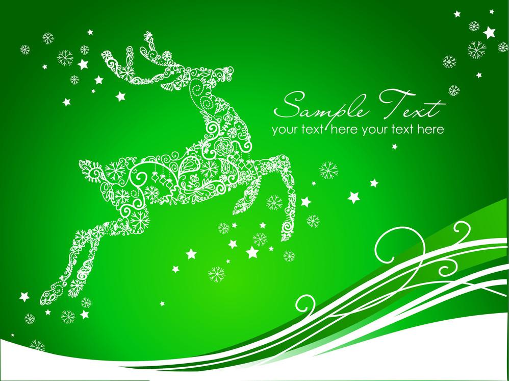 Beautiful Reindeer On Green Background
