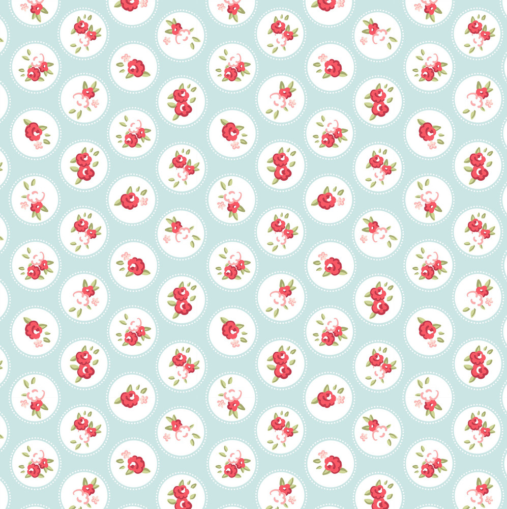 Beautiful Seamless Rose Pattern With Blue Background