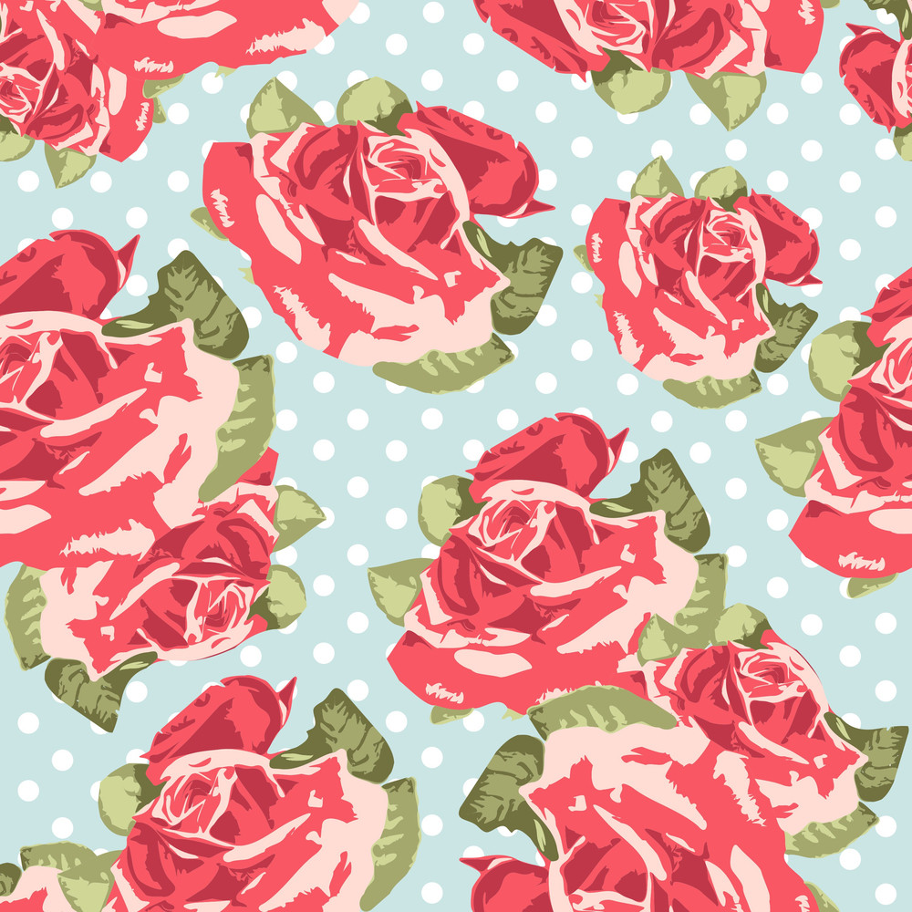 Beautiful Seamless Rose Pattern With Blue Polka Dot Background