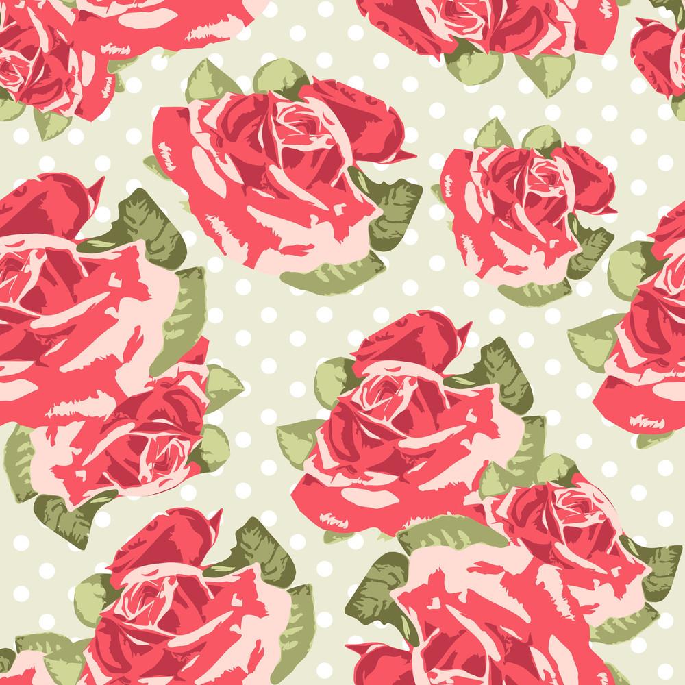 Beautiful Seamless Rose Pattern With Blue Polka Dot Background