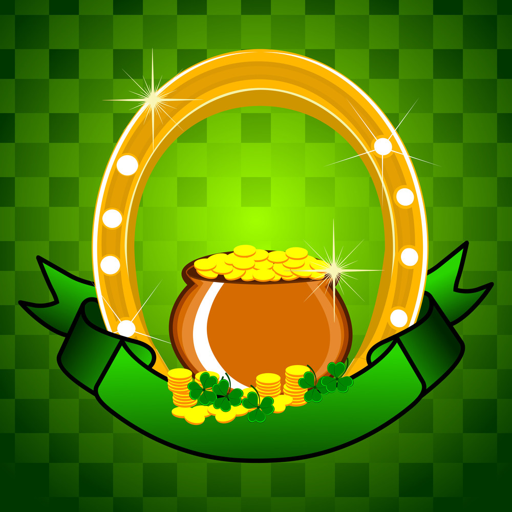 Beautiful Shiny Background With Cauldron And Horse-shoe For Patrick's Day. Vector