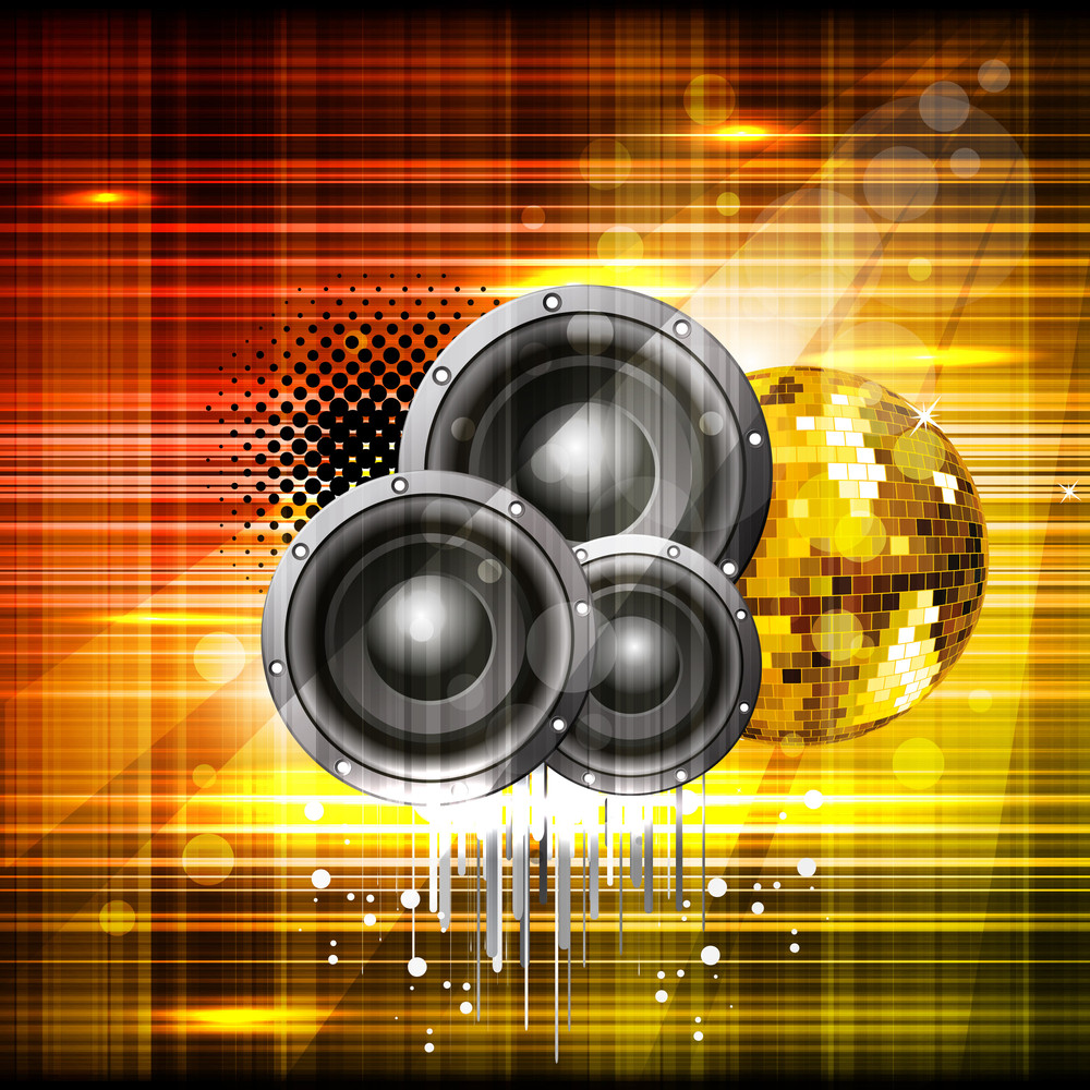 Beautiful Shiny Background With Music Speakers And Ornament. Vector.