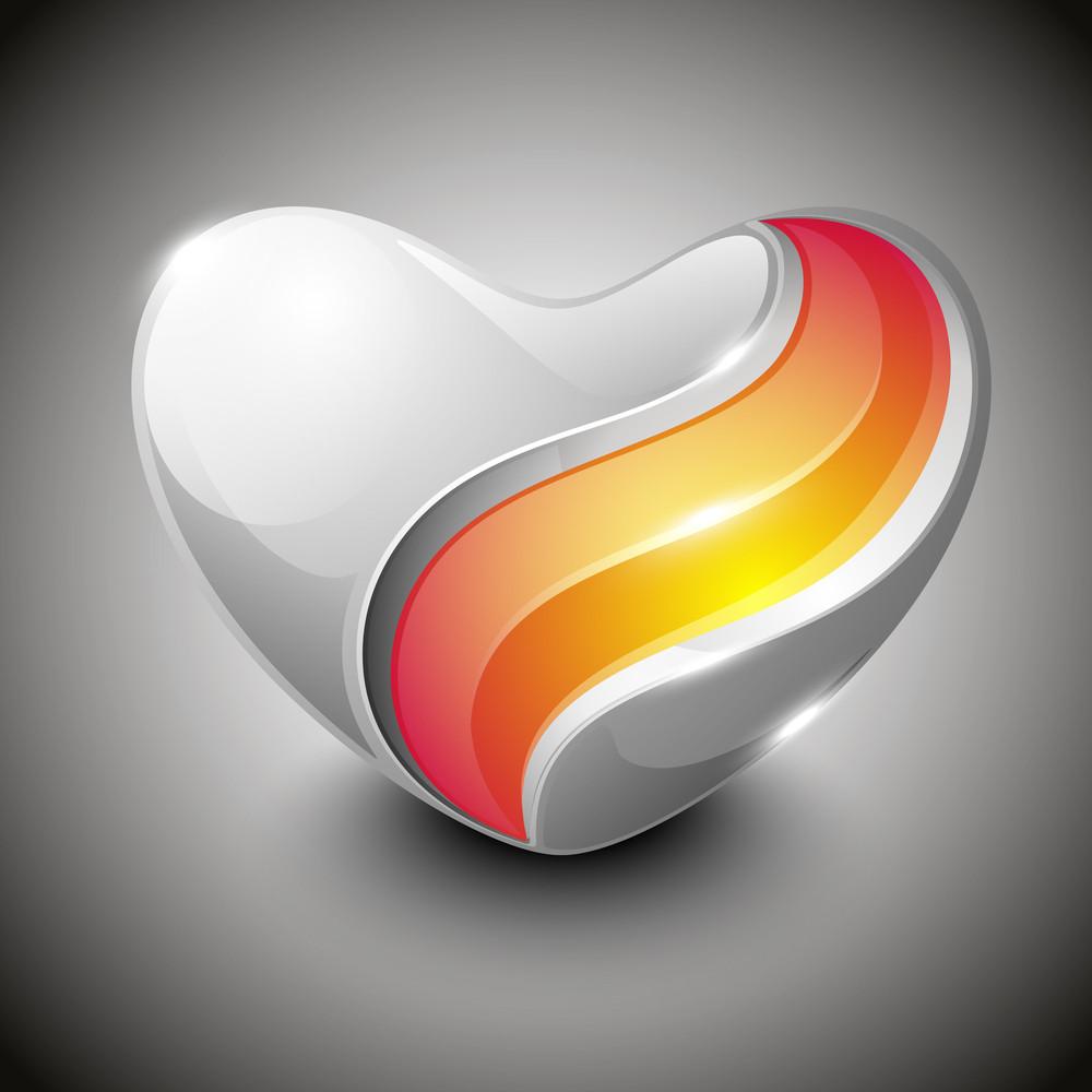 Beautiful Shiny Valentine Heart Having Transparency Effect