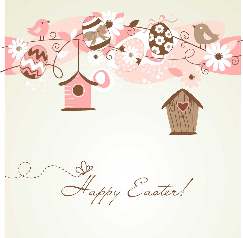 Beautiful Spring Backgroun With Bird Houses
