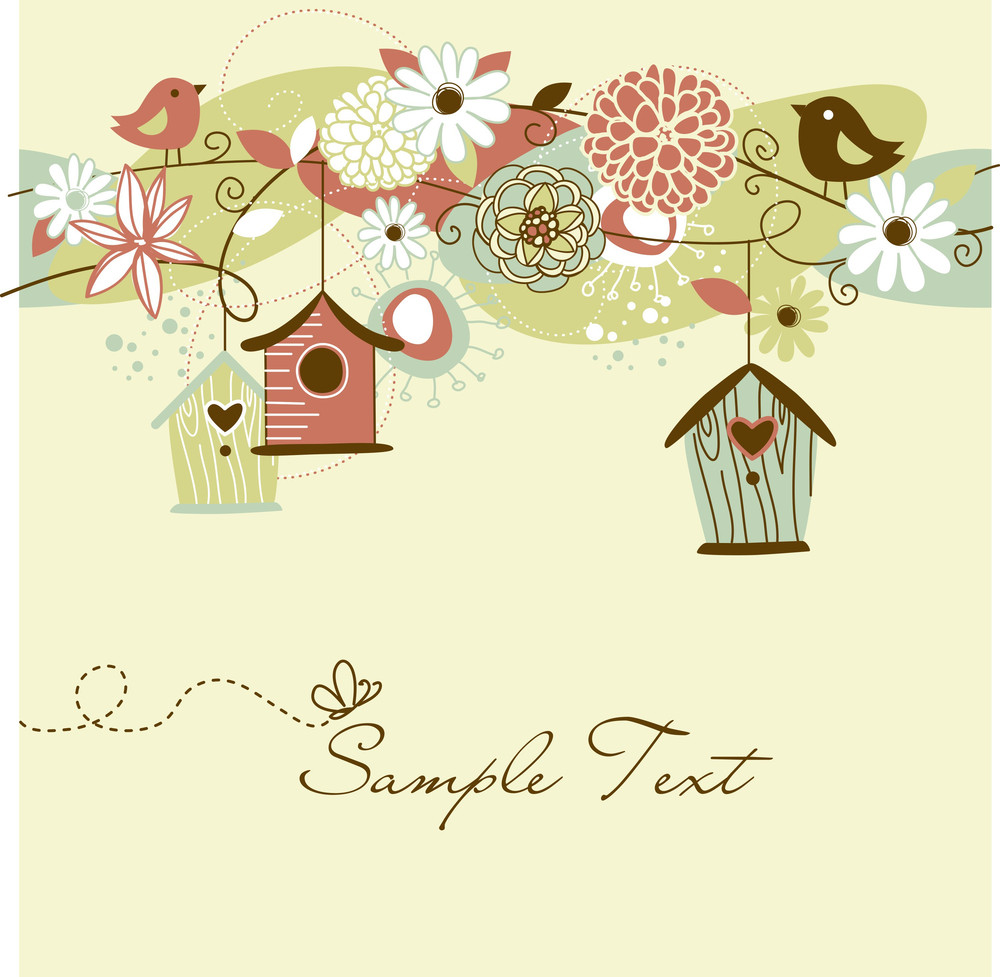 Beautiful Spring Background With Bird Houses