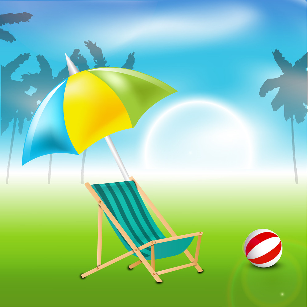 Beautiful Summer Evening Background With Umbrella