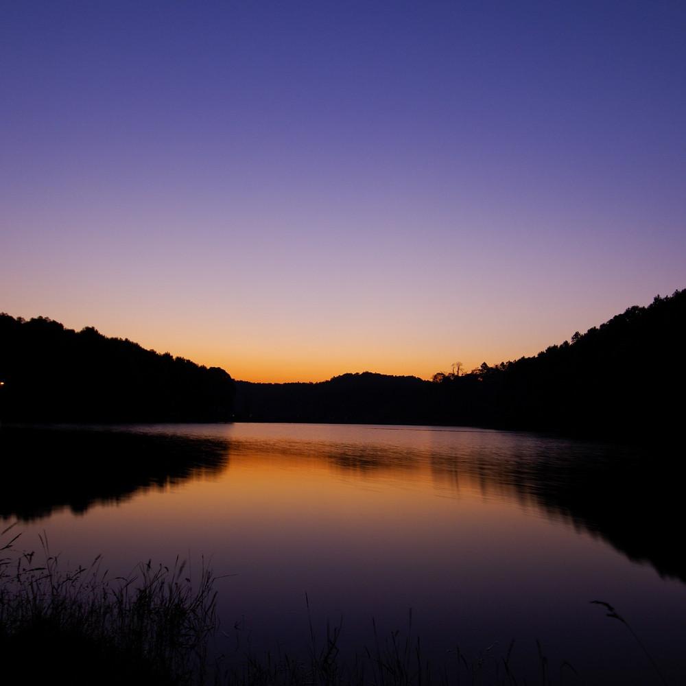 beautiful sunset lake and mountain