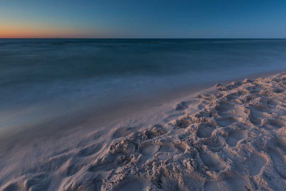 Beautiful sunset over Baltic sea. Summer landscape of polish sea beach.