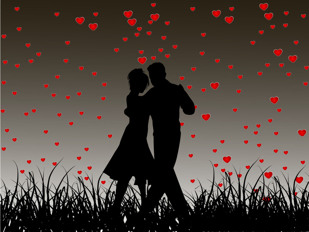 Beautiful Valentines Day Flyer Or Banner Design Or Poster With Dancing Couple Silhouette