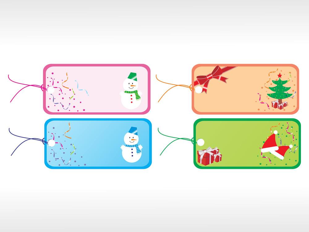 Beautiful Vector Christmas Tags Set 4