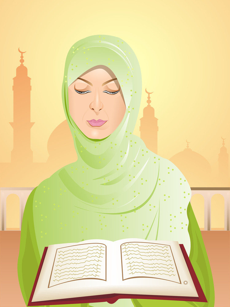 Beautiful Young Woman Wearing Green Headscarf Reading The Kuran. Visit Our Portfolio For More Illustrations