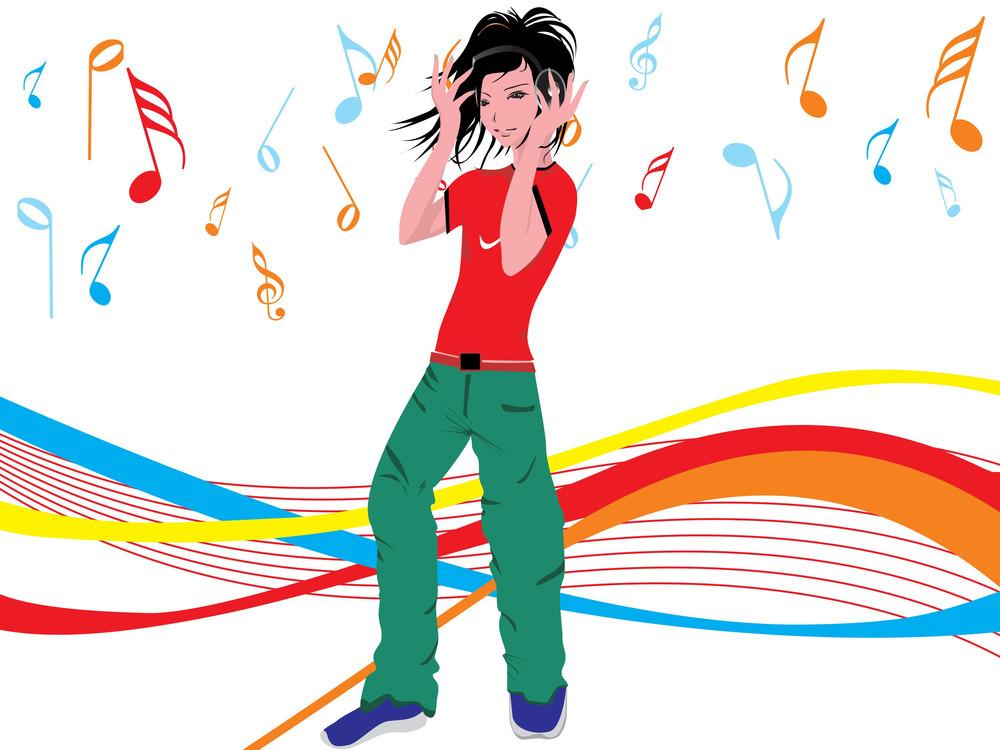 Beautifull Female Silhouette Dancing On Music Background_10