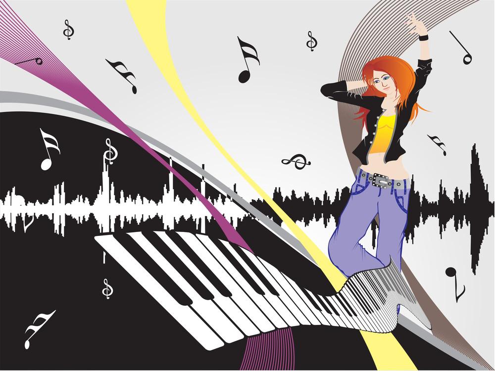 Beautifull Female Silhouette Dancing On Music Background_12