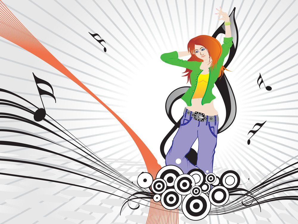 Beautifull Female Silhouette Dancing On Music Background_13