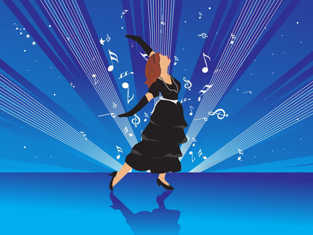 Beautifull Female Silhouette Dancing On Music Background_20