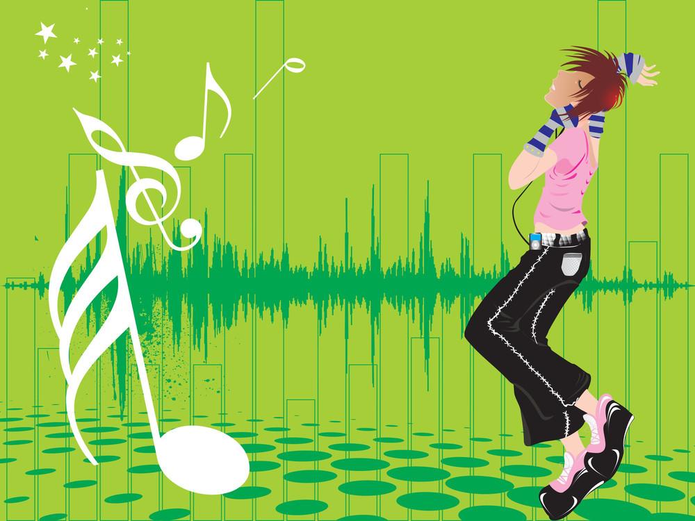 Beautifull Female Silhouette Dancing On Music Background_24