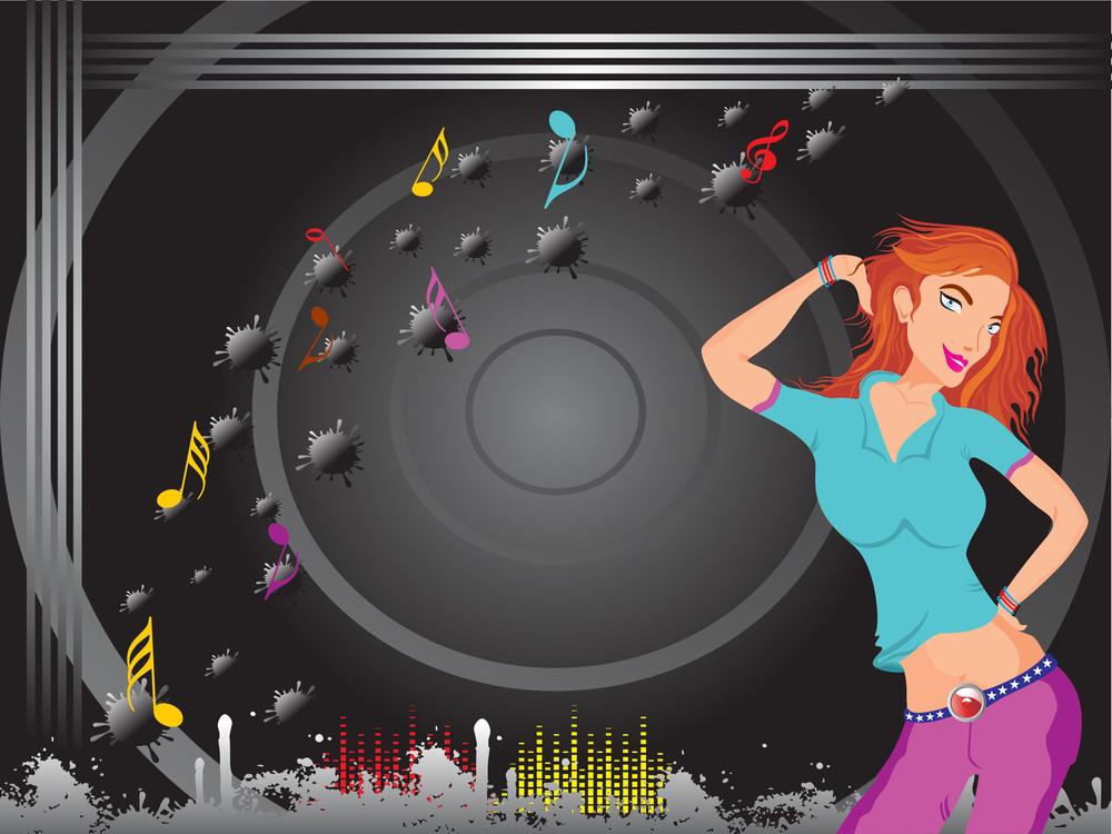 Beautifull Female Silhouette Dancing On Music Background_29