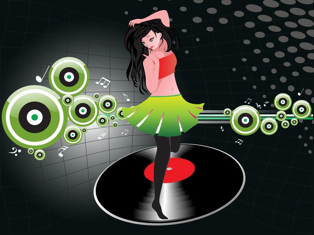 Beautifull Female Silhouette Dancing On Music Background_30