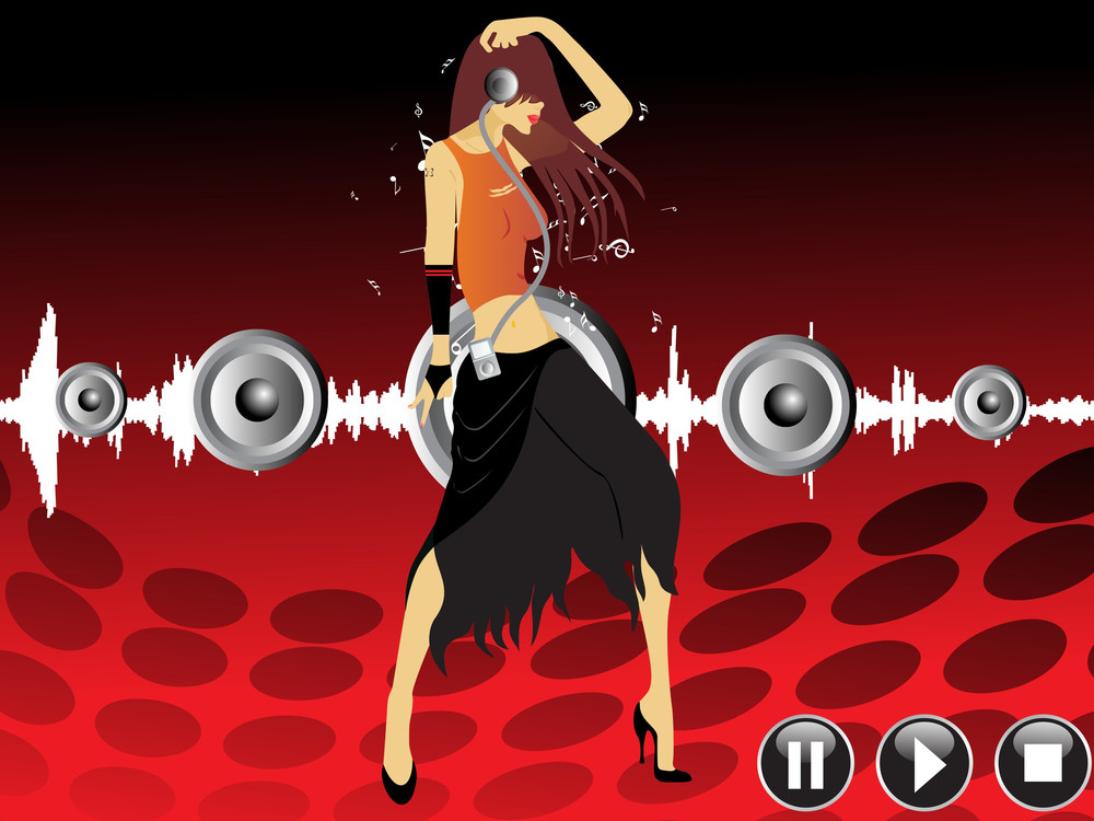 Beautifull Female Silhouette Dancing On Music Background_6