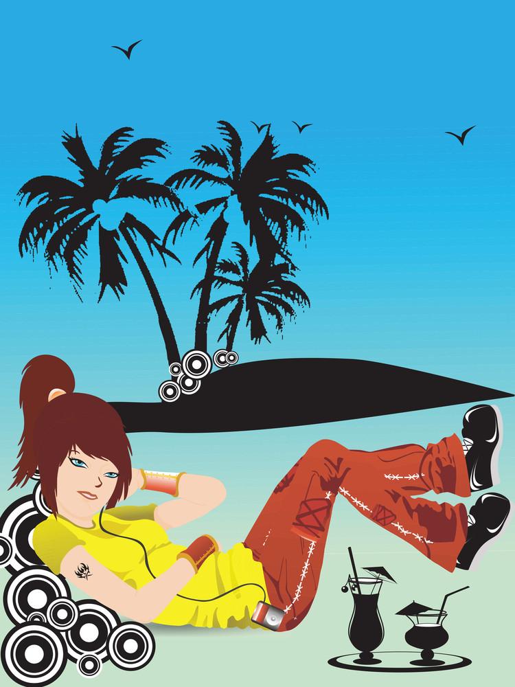 Beautifull Girl Listening Music On Summer Background