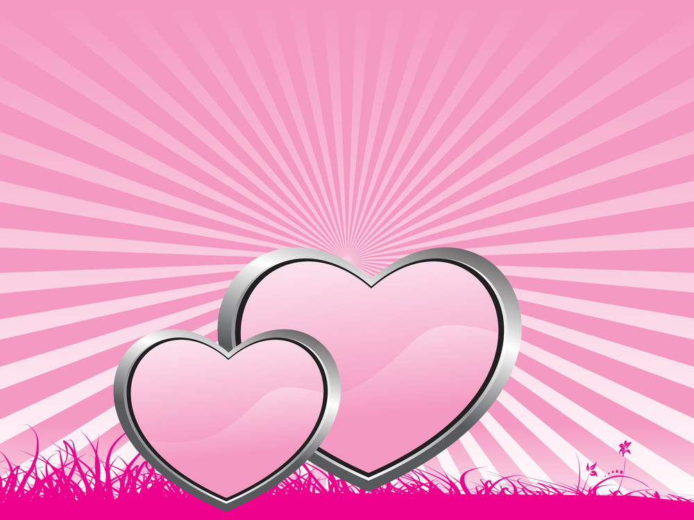 Beautifull Pink Background With Two Heart