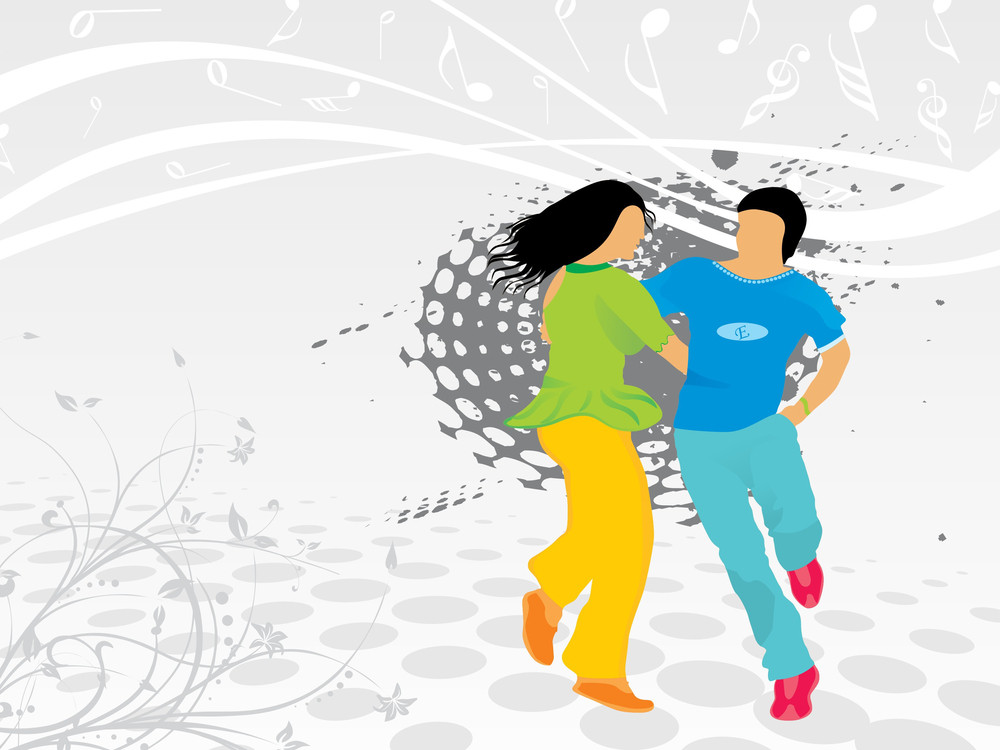 Beautifull Silhouette Of Dancing Couple On Floral Background_1