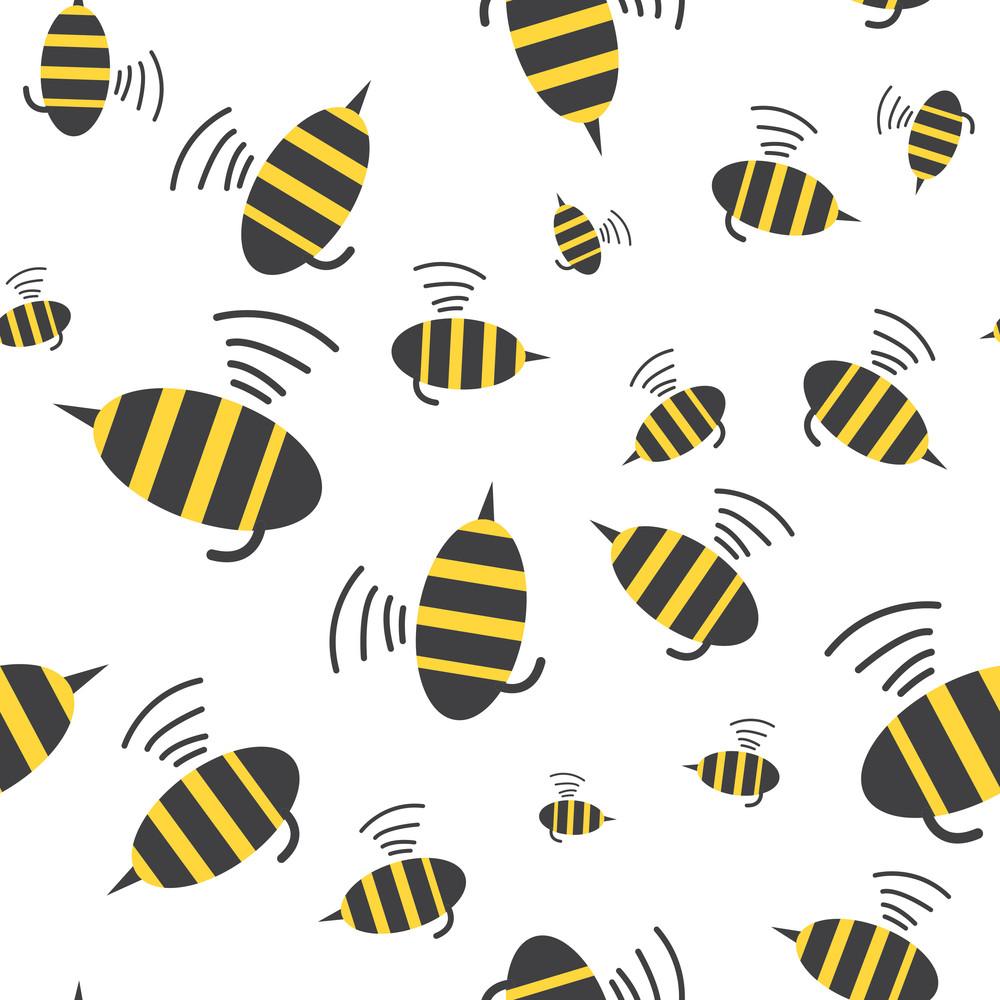 Bee Seamless Pattern. Vector Illustration.