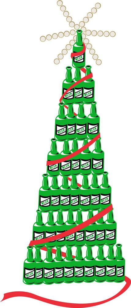 Beer Bottle Christmas Tree Retro