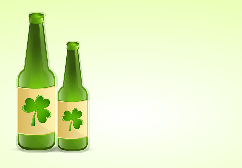 Beer Bottles With Clover Leaves