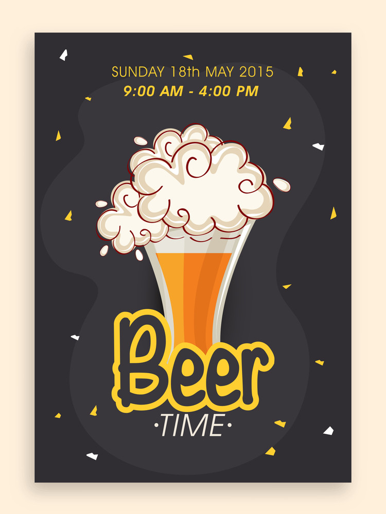 Beer time flyer banner or template design with time and date details.
