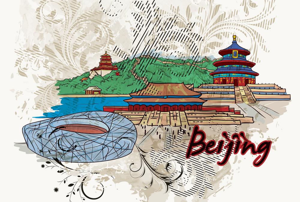 Beijing Doodles With Floral Vector Illustration