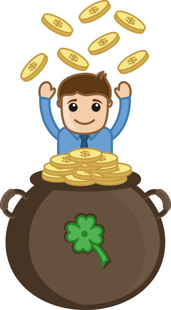 Being Lucky And Rich - Business Cartoon Characters